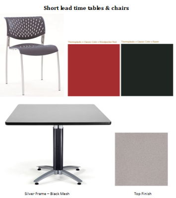 Hanna Chair and OFM Multi-purpose Table for Biopharma Break Room