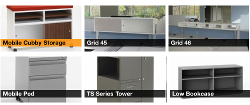 Grid Storage Options, Above work surface, Below work surface and Between work areas.