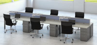 Grid - Forward Facing Layout, a good option for space challenged work areas with high growth.