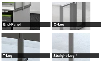 """Grid Worksurface Supports, End Panels, """"O-Legs"""", """"T-Legs and Straight legs."""