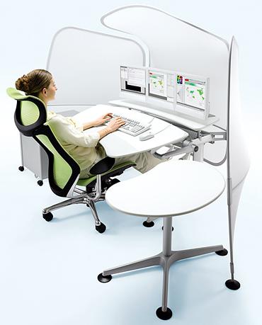 Fatigue reducing, productivity enhancing, Okamura Cruise Computer Workstation