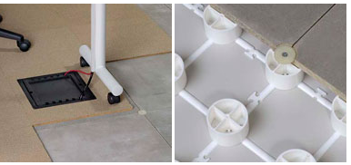 """Trendway Floor - Raised Floor of 2 1/2"""" gives you easy, lift panel access to data and power through the whole floor"""