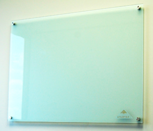 Glass Markerboard - Depth Look standing off from wall