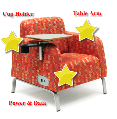 Soft Seating with Built-In Table Arn, Power Access, and Cup Holder
