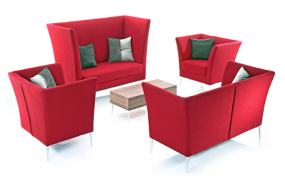 Cluster Soft Seating Together with High Backs to Create a Semi-Private Meeting Area