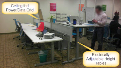 Adjustable Height Desk - Installed with ceiling fed Power/Data Grid