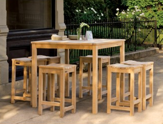 0196 - Outdoor Wood Dining Table and Stool-height Chairs