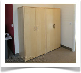 Wood Veneer Storage Cabinets With Hidden Hardware And Lock